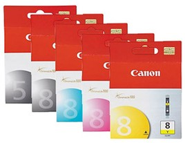 Genuine Canon PGi-5BK and Cli-8 Printer Ink Cartridges