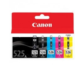 Genuine Canon PGi-525BK and Cli-526 Printer Ink Cartridges MultiPack